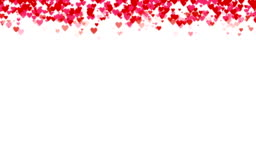 Seamless loop background with different colored confetti hearts for valentine time.