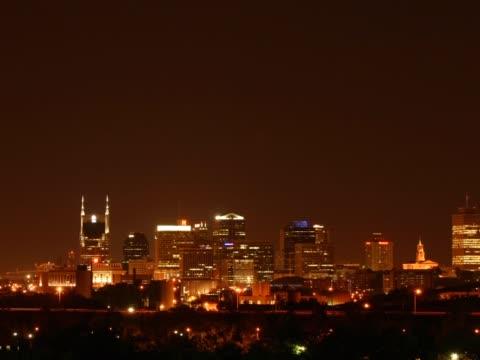 Seamless loop lower third downtown Nashville at night PAL