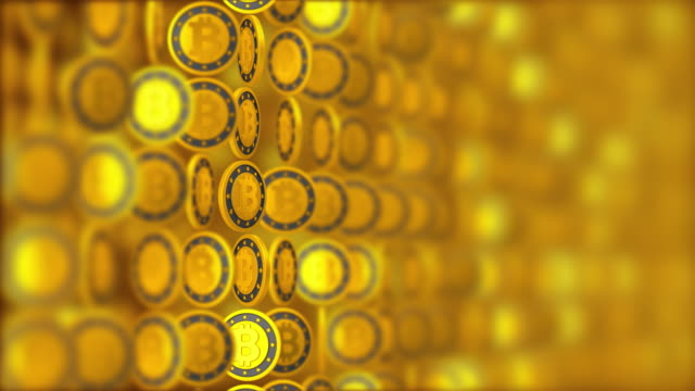 seamless loop. money background, golden coins with bitcoin sign. digital cryptocurrency symbol. business and finance 3d illustration. - binary code stock videos & royalty-free footage