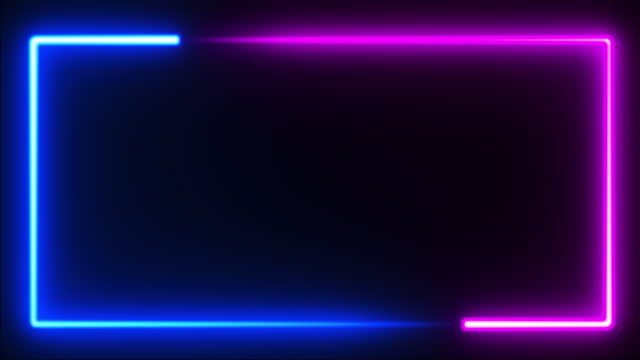 seamless loop. neon glowing rectangle frame. futuristic light on black background. pink and blue fluorescent energy light. - square stock videos & royalty-free footage