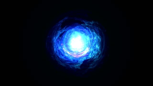 vídeos de stock e filmes b-roll de seamless loop of energy ball blue - bola de plasma