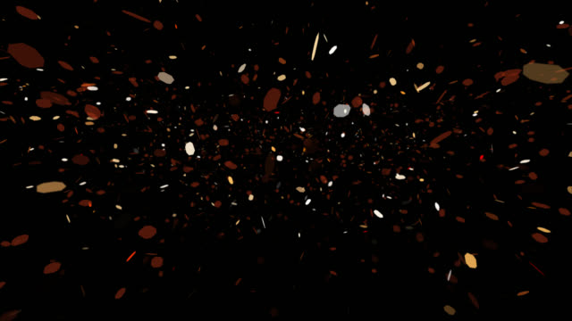 4K seamless loop of falling particles on black background