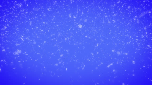 seamless loop of falling snowflakes on blue background