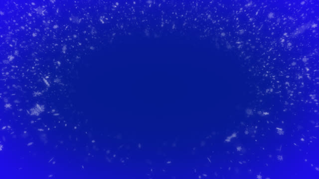boucle sans couture des flocons de neige tombants sur le fond bleu