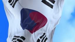 Seamless loop of South Korean flag.