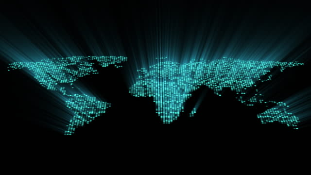 4k. seamless loop. world map with blue shine rays. digital technology and big data concept. 3d illustration. - population explosion stock videos & royalty-free footage
