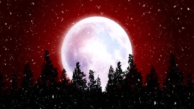 seamless snowy christmas night, 4k video animation. - evergreen stock videos & royalty-free footage