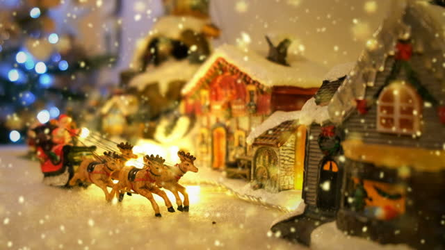 seamless snowy christmas town decoration, 4k video animation. - tinsel stock videos & royalty-free footage