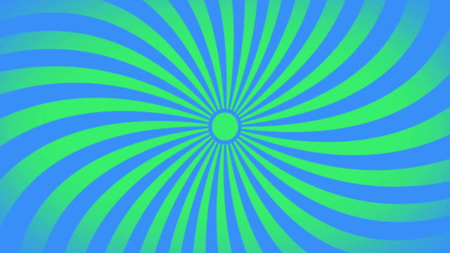 seamless swirling radial vortex background, green and blue color stripes are swirling, 4k video. - modern art stock videos & royalty-free footage
