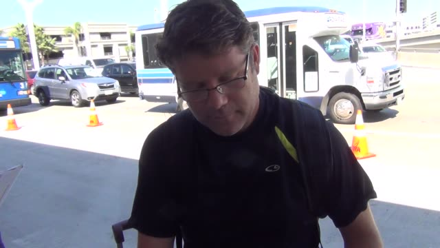 sean astin at los angeles international airport at celebrity sightings in los angeles on september 18, 2015 in los angeles, california. - sean astin stock videos & royalty-free footage
