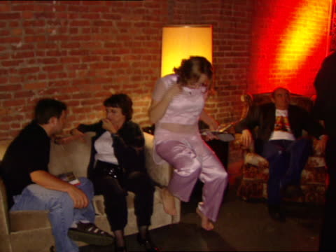 sean astin, joyce pekar & danielle batone sitting on couch in eyebeam studio club, astin & joyce talking, harvey pekar sitting in couch chair,... - sean astin stock videos & royalty-free footage
