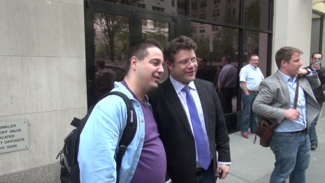 "sean astin poses with fans outside of the huffington post & talks about another ""the goonies"" movie in celebrity sightings in new york, - sean astin stock videos & royalty-free footage"