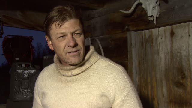 sean bean on how physical this movie is, on the terrain and how it makes film making difficult at the age of heroes set visit at haugesund . - sean bean stock videos & royalty-free footage