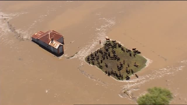 sean berry reports on grafton facing it's biggest ever flood grafton aerial state emergency service what we are dealing with here is a flood of... - 解放する点の映像素材/bロール