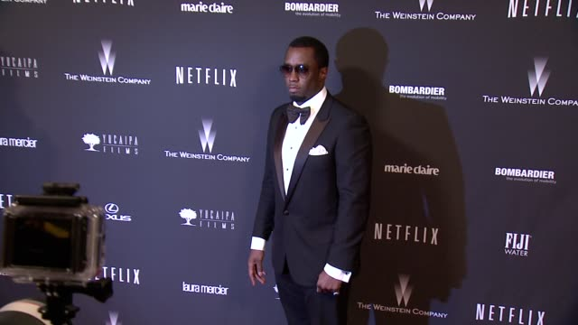 vídeos de stock, filmes e b-roll de sean combs at the weinstein company netflix 2014 golden globes after party at the beverly hilton hotel on in beverly hills california - sean combs