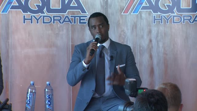 SPEECH Sean Combs on how AQUAhydrate will be marketed and how it differs from other beverages on the market at Sean Combs and Mark Wahlberg Press...