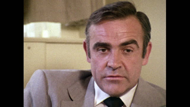 sean connery admits to only having read a few of the james bond novels - thunderball, live and let die and from russia with love; 1971. - headshot stock videos & royalty-free footage