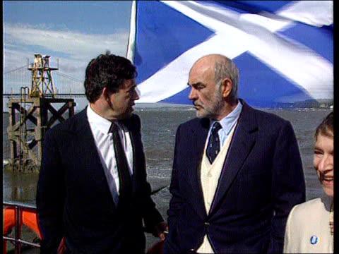 Sean Connery knighthood row LIB Firth of Forth LA Forth Bridge PAN RL to Sean Connery chatting to Gordon Brown MP on boat beside Edinburgh Int...