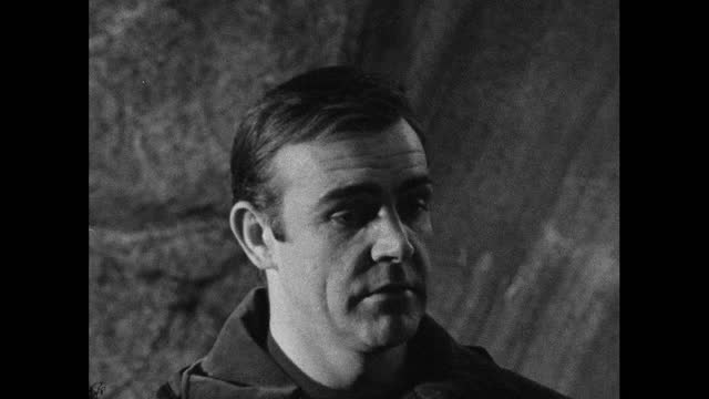 sean connery ,speaking in 1966 on the set of 'you only live twice', about being ready to leave hte role of james bond and looks forward to a change;... - headshot stock videos & royalty-free footage