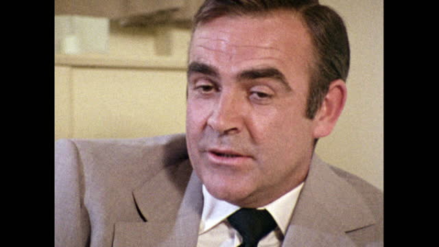 sean connery, speaking in 1971, on 'diamonds are forever' being his last outing as james bond and looking forward to what the future holds. - human eye stock videos & royalty-free footage