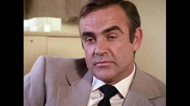 sean connery, speaking in 1971, on donating his fee for 'diamonds are forever' to help launch the scottish international education trust. - headshot stock videos & royalty-free footage