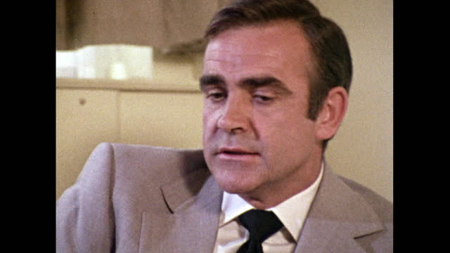 sean connery, speaking in 1971, on negotiating a favourable deal to return to the james bond franchise in 'diamonds are forever'. - headshot stock videos & royalty-free footage