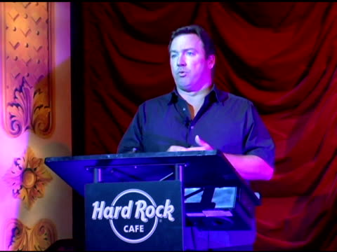 sean dee/ head of marketing, hard rock international at the unveiling of signature series t-shirt with ozzy and sharon osbourne at hard rock cafe in... - シャロン オズボーン点の映像素材/bロール