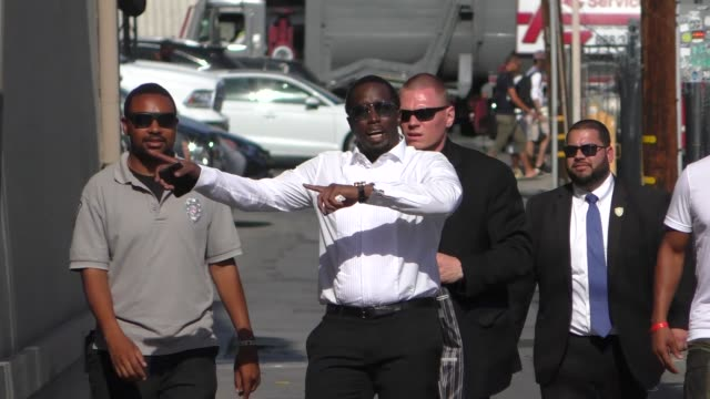 sean 'diddy' combs arrives at jimmy kimmel live at el capitan theater in hollywood in celebrity sightings in los angeles - sean combs stock-videos und b-roll-filmmaterial