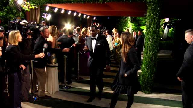 sean diddy combs at the 2012 vanity fair oscar party hosted by graydon carter - inside party at west hollywood ca. - vanity fair oscar party stock videos & royalty-free footage