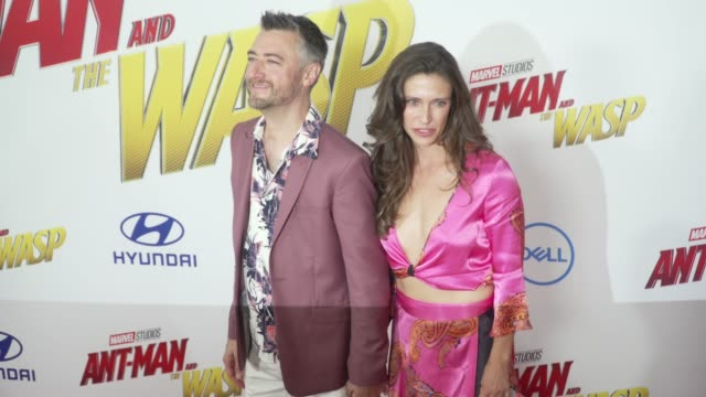 Sean Gunn and Natasha Halevi at the 'AntMan and the Wasp' World Premiere at the El Capitan Theatre on June 25 2018 in Hollywood California