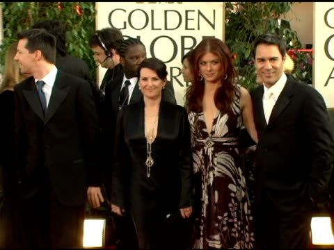 sean hayes megan mullally debra messing and eric mccormack at the 2006 golden globe awards arrivals at the beverly hilton in beverly hills california... - sean hayes stock videos & royalty-free footage