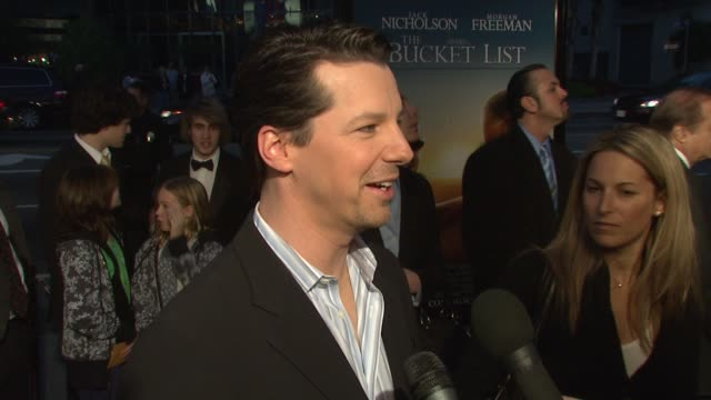 sean hayes on working on the film at the 'the bucket list' premiere at the cinerama dome at arclight cinemas in hollywood, california on december 16,... - bucket list stock videos & royalty-free footage