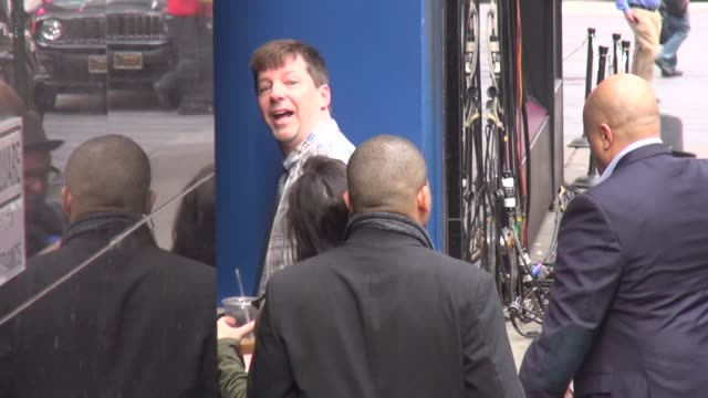 sean hayes promoting broadway's 'an act of god' arrives at the 'good morning america' show in celebrity sightings in new york - sean hayes stock videos & royalty-free footage