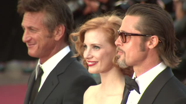 Sean Penn Jessica Chastain and Brad Pitt at the The Tree of Life Premiere 64th Cannes Film Festival at Cannes