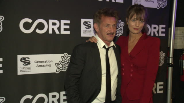 sean penn, leila george d'onofrio at the core gala: a gala dinner to benefit core and 10 years of life-saving work across haiti & around the world at... - ショーン・ペン点の映像素材/bロール