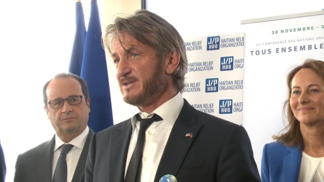 sean penn talks about the partnership between the governments of france and haiti toward reforestation of haiti, thanks president of france françois... - 2015 stock videos & royalty-free footage