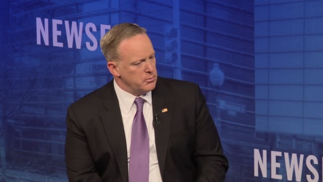 sean spicer at the newseum - part 2 of 6 topics ranged from covering the trump white house, president trump's use of twitter, the future of news in a... - msnbc stock videos & royalty-free footage
