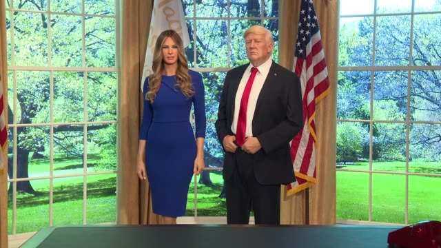 sean spicer at the unveiling of the new melania and donald trump wax figures at the madame tussauds® new york launches give melania a voice... - donald trump us president stock videos and b-roll footage