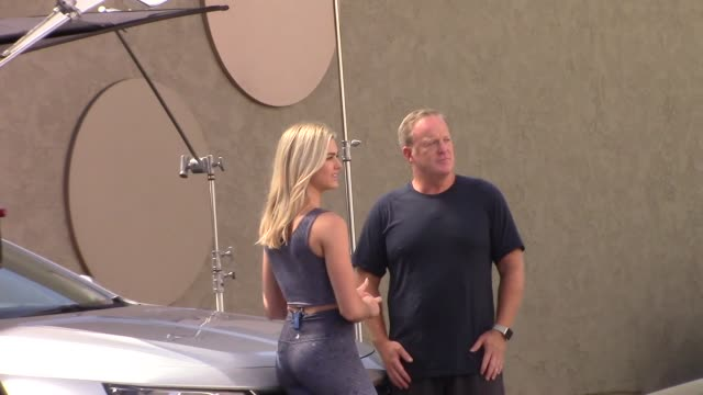 sean spicer lindsay arnold film together outside the dwts rehearsal studio in hollywood in celebrity sightings in los angeles - dancing with the stars stock videos & royalty-free footage