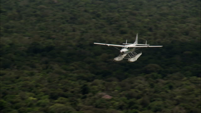 A seaplane flies over the Amazon Rainforest. Available in HD.