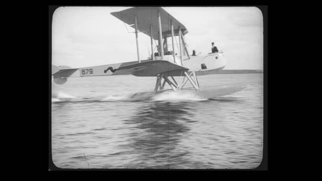 seaplane gotha wd11 taxiing on the water of the baltic sea and speed up. the gotha wd.11 was the first torpedo bomber seaplane developed in germany... - propeller stock videos & royalty-free footage