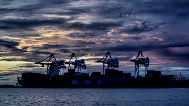 Seaport harbor in twilight