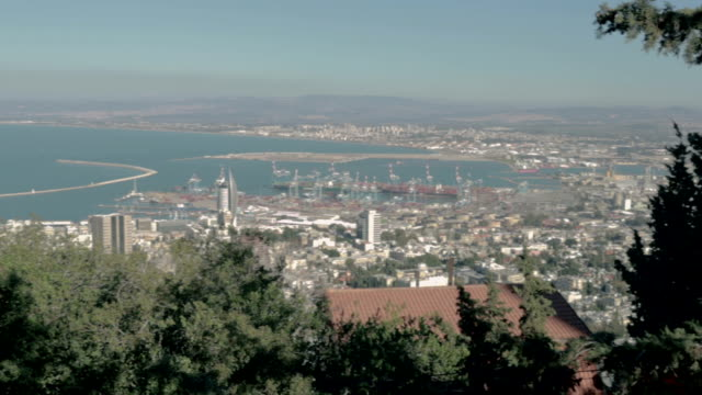 seaport, israel panorama - stock video - haifa video stock e b–roll
