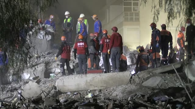 search and rescue efforts continue in turkey's aegean region on sunday evening after the magnitude-6.6 quake hit the region. the death toll from... - temporary stock videos & royalty-free footage
