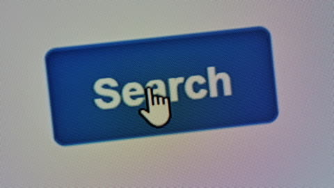vídeos y material grabado en eventos de stock de botón de búsqueda en pantalla, primer plano - en búsqueda