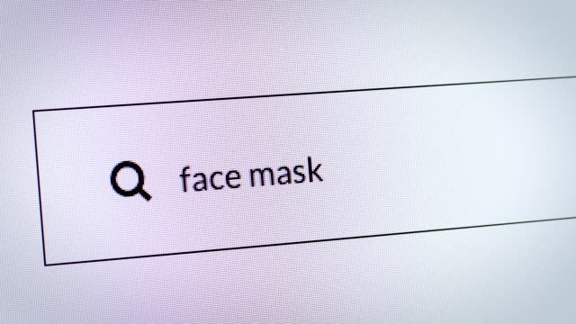 """search engine about coronavirus. typing """"face mask"""" in the search bar. - hygiene stock videos & royalty-free footage"""