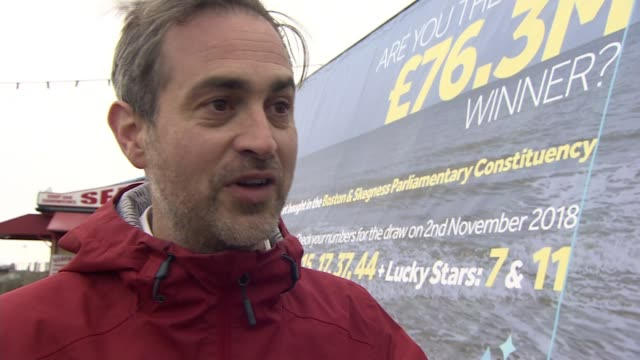 Search for £76m lottery winner intensifies as deadline nears ENGLAND Lincolnshire Skegness EXT Patrick Lisoire interview SOT Mobile poster van with...