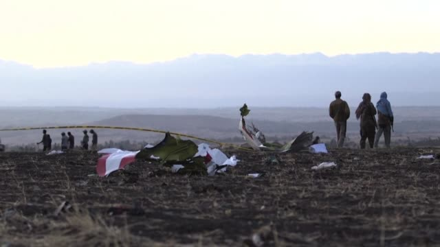 a search operation is underway at the crash site of the ethiopian airlines boeing 737 near bishoftu a town some 60 kilometres southeast of addis ababa - ethiopia stock videos & royalty-free footage
