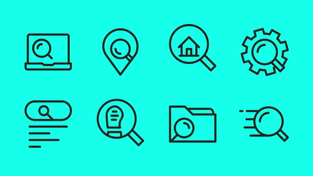 searching concept line icons - vector animate - file stock videos & royalty-free footage