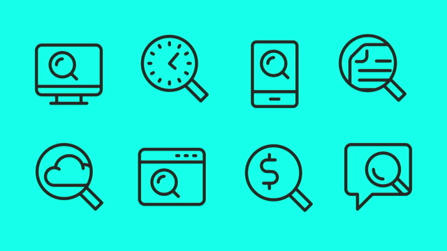 searching line icons - vector animate - magnifying glass stock videos & royalty-free footage